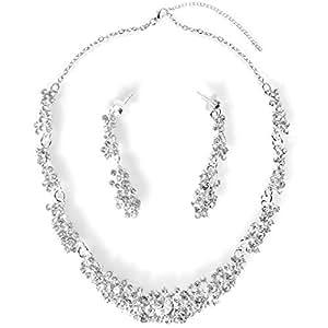 Zapatos 2018 sombras de última venta StillCool Collar Pendientes Fiesta Aretes para Mujer Diamantes de Imitación  Boda Nupcial Joyas Set