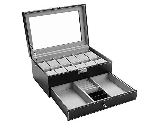 Autoark AW-001 Black Leather 12 Watch Box with Jewelry Display Drawer Lockable Watch Case Organizer