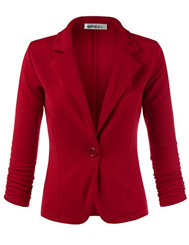 Doublju Womens Casual One Button Cropped Blazer with 3/4 Shirring Sleeve RED 2XL ()