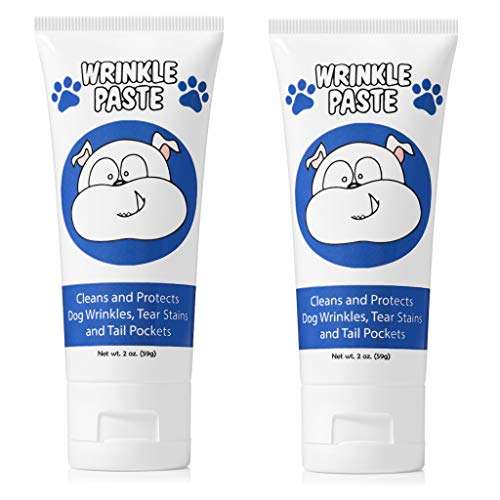Squishface Wrinkle Paste - 2 Tubes - Cleans Wrinkles, Tear Stains and Tail Pockets - 2 Oz, Anti-Itch, Great for Bulldogs, Pugs and Frenchies (Best Pug Face Wipes)