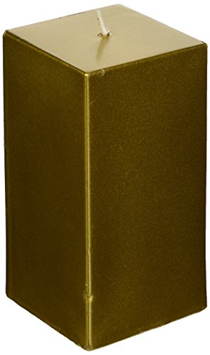 (Zest Candle Pillar Candle, 3 by 6-Inch, Metallic Bronze Gold Square)