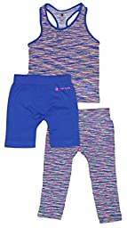 Body Glove Girl\'s 3 Piece Athletic Shorts, Legging and Tank Top Sets 2T/3T Royal