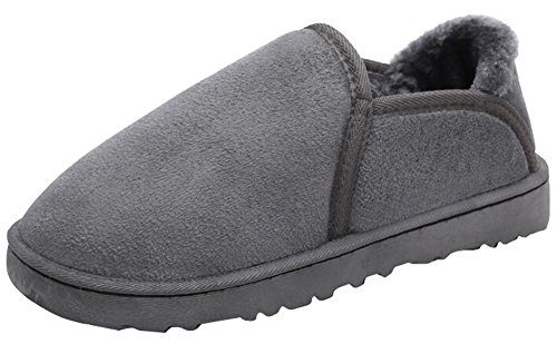 IDIFU Mens Warm Round Toe Faux Fur Lined Frosted Low Top Flat Short Snow Boots Gray 6gOU97wa