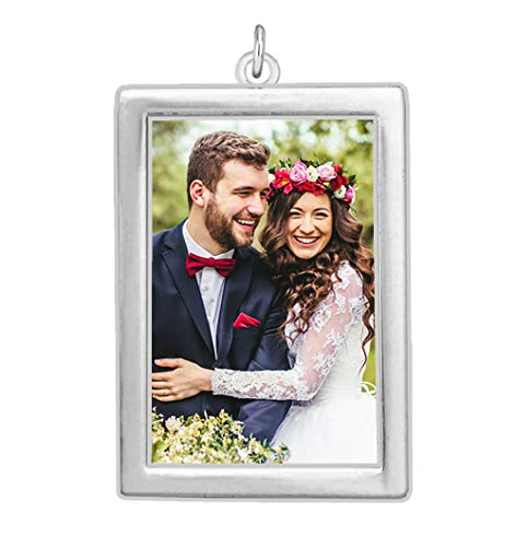 - Wedding Bouquet Photo Charm Silver Plated Rectangle Double Sided