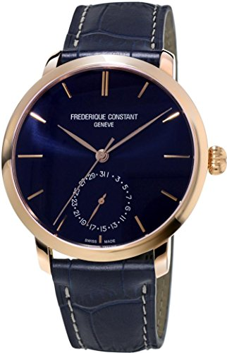 Frederique Constant Slimline Navy Dial Navy Leather Mens Watch FC-710N4S4