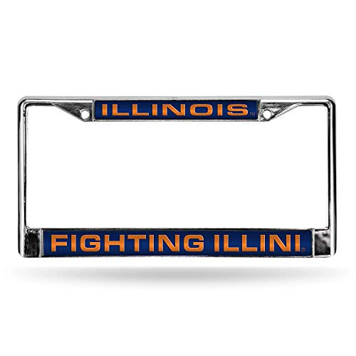 Eletina Star Illinois University NCAA Laser Chrome Plate Frametoad License Plate