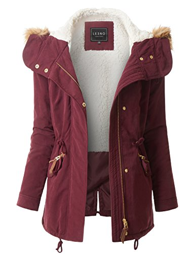 LE3NO Womens Fleece Lined Anorak Military Parka Jacket With Faux Fur (Fleece Lined Anorak)