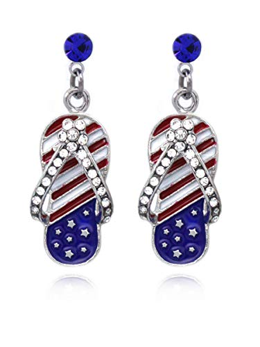 cocojewelry 4th of July USA American Flag Flip Flop Sandal Dangle Post Earrings (Style 2 Royal Blue Dot)