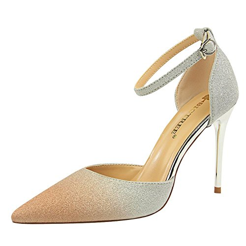 Mee Shoes Women's Shining Stiletto Buckle High Heel Court Shoes Champagne yHzgyD6R
