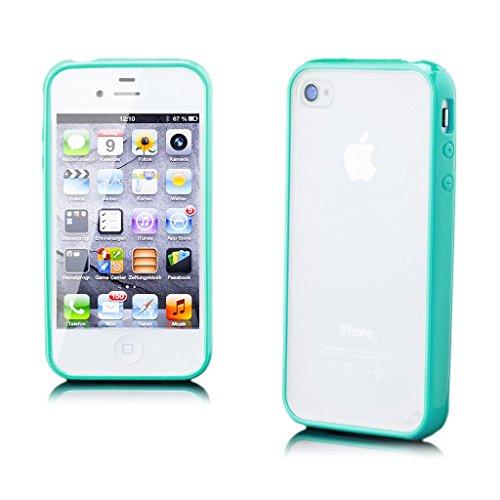 Apple iPhone 4 / 4S   iCues pare-chocs TPU mat Retour Case Turquoise   [Protecteur d'écran, y compris] protecteur de feuille transparente Temps clair de gel de silicone Housse étui de protection couve