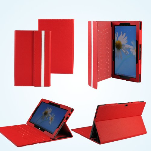 MiTAB Red Leather Case Cover Sleeve For The Microsoft Surface Rt & Windows 8 10.6 Inch Tablet