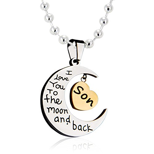 [Son- I Love You to The Moon and Back Heart Pendant Necklace from Paris Selection] (Best Mother And Son Costumes)
