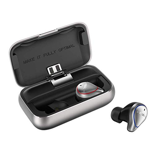 Silver Sports Headphone - Ayake Silver O5 Bluetooth 5.0 Headphones Waterproof IPX7, True Wireless Earbuds Sports, Richer Bass HiFi Stereo in-Ear Earphones w/Mic, 7-9 Hours Playback Noise Cancelling Headsets (Auto-Pairing)