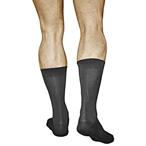 3 Pairs Men's Best Cotton Socks, Business Dress Quality Durable, Mercerized Fiber, Vitsocks Classic, 12-13, grey