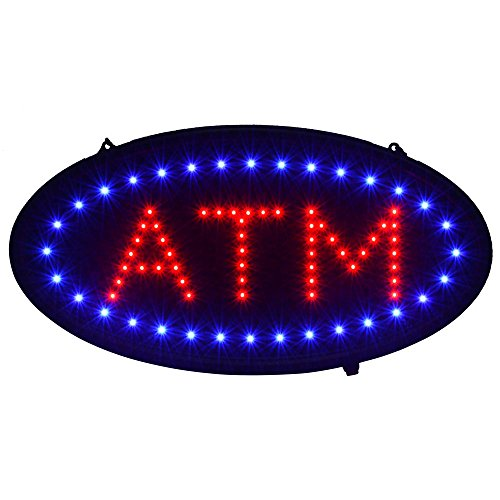 Atm Sign Led - Led Open Signs Decor for Business Mart Shop Store Bar Cafe Now Open Sign Display On/Off Switch + Chain (19