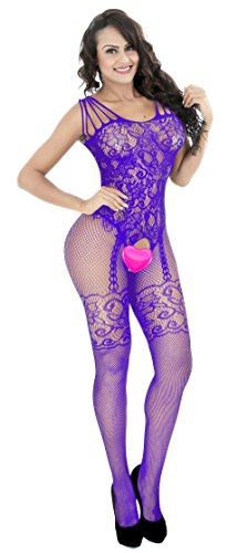ROSELAN Sexy Strap Floral Open fishnet Bodystocking Plus Size Bodysuit for Women Lingerie Crotchless Pantyhose