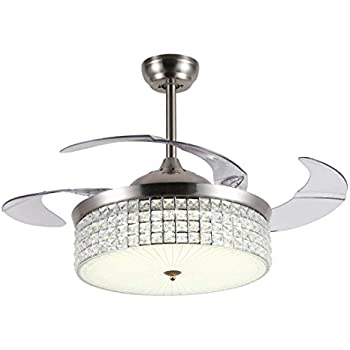 Luolax 42 Inch Crystal Ceiling Fan With Lights 4 Retractable Blades Chandelier With Remote