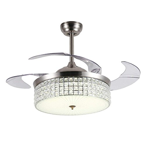 LUOLAX 42 Inch Crystal Ceiling Fan with Lights, 4 Retractable Blades Chandelier with Remote Control 3 Colors Dimmable for Bedroom/Dining/Living Room(Silver) ()