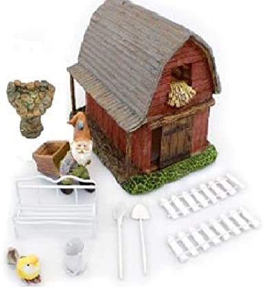NW Wholesaler Miniature Fairy Garden Barn House Starter Kit with Fairy Garden Barn House, Gnome and Accessories