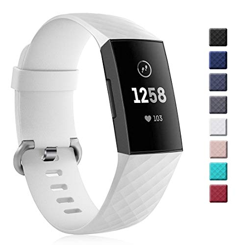 Yutior Silicone Bands Compatible Fitbit Charge 3 & Charge 3 SE, Waterproof Classic Accessory Soft Sport Replacement Wristband Small Large for Women Men, Black, White, Navy, Sand Pink, Gray, Teal, Red