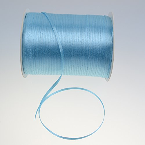 1/8-Inch Satin Ribbon by 870 Yard Giant Spool | Double Face Woven Polyester Ribbon Hanging Tag&Card for Art Projects | No Fading scrapbook Fabric Ribbon (1/8-Inch x 870 Yard x 1 Spool, Baby Blue) Giants Woven Polyester