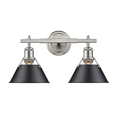 Golden Lighting 3306-BA2 PW-BLK Orwell - Two Light Bath Vanity, Pewter Finish with Black Shade