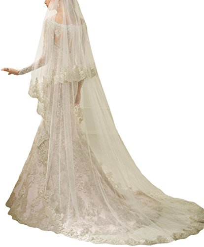 Color Veil (Newdeve Lace Wedding Veils Cathedral Length 2 Tiers Bridal Veil Long (Ivory))