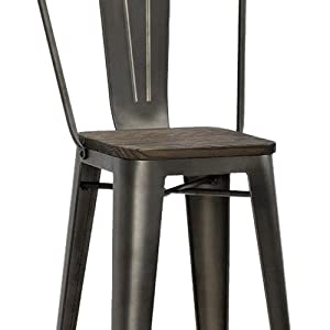 DHP Luxor Metal Counter Stool with Wood Seat (Set of 2)