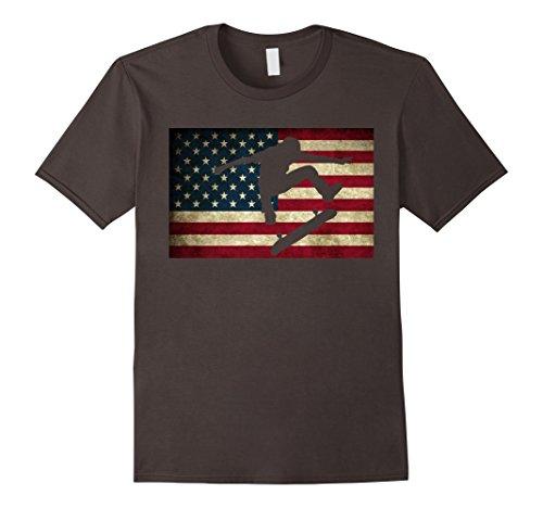 Mens Skateboarding T Shirt Skater Skate Board American Flag Tee XL Asphalt