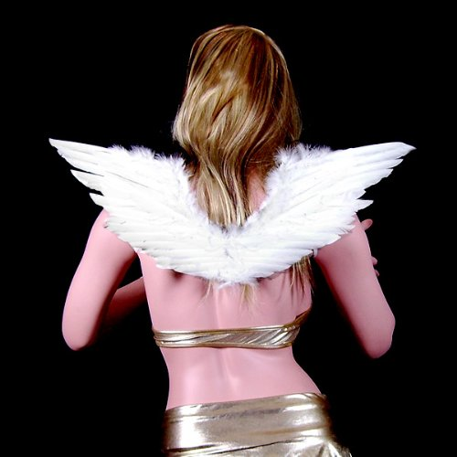 SACAS White Feather Angel Wings for adults or kids with Free Halo (Red Marabou Halo)