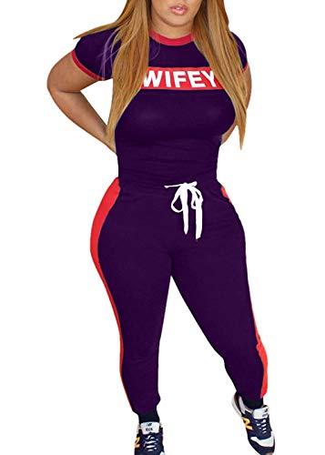 Just Tracks - Just For Future Women Word Letter Print Tracksuits Set Short Sleeve Crop Tops and Skinny Long Pant Jumpsuits 2 Piece Outfits (L, Purple)