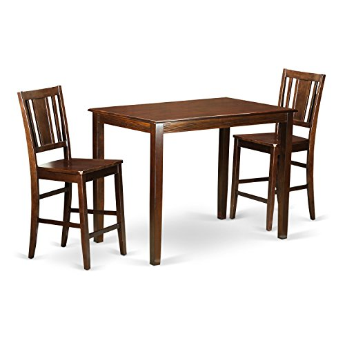 East West Furniture YABU3-MAH-W 3 Piece Counter Height Pub Table and 2 Bar Stools Set