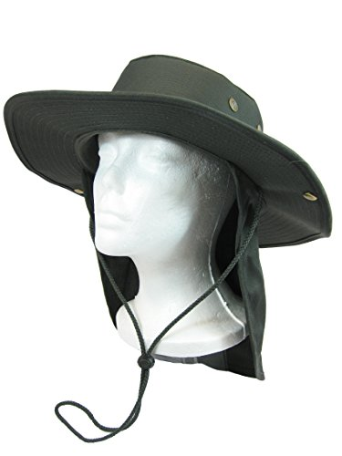 Fishing Hiking Hunting Boating Snap Brim Hat Sun Cap with Neck Flap Cover Outdoor Safari Boonie Bush (Olive Drab, S)