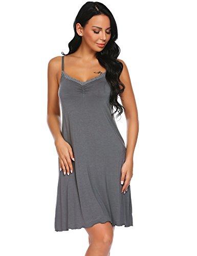 Sexy B in nbsp;Notte Unibelle Senza Pizzo Nightdress Maniche nbsp;da grigio Babydoll Camicia Donna Sottoveste v4xUFnSq6