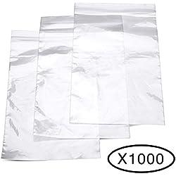 "Halulu 4""x6"" Resealable Plastic Zipper Bag, Clear, 2 Mil, Pack of 1000"