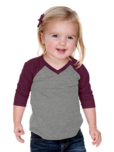 Kavio! Unisex Infants Sheer Jersey Contrast V Neck Raglan 3/4 Sleeve Dark (3 Pinot)