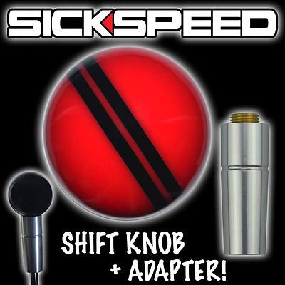 Red/Black Rally Stripe Shift Knob & Automatic Adapter For Auto Gear Shifter for Chevrolet Camaro ()