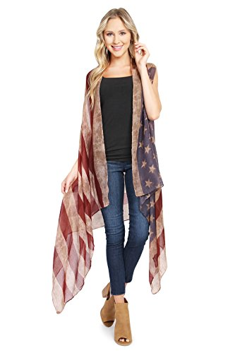 MYS Collection American Flag Cardigan - July 4th USA Stars and Stripes Pattern Lightweight Shawl Kimono Vest by MYS Collection (Image #2)