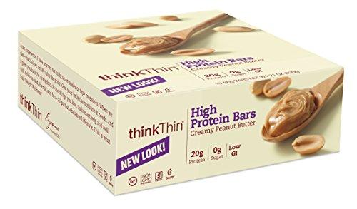 thinkThin crémeux au beurre d'arachide, gluten, bars 2,1 onces (paquet de 10)