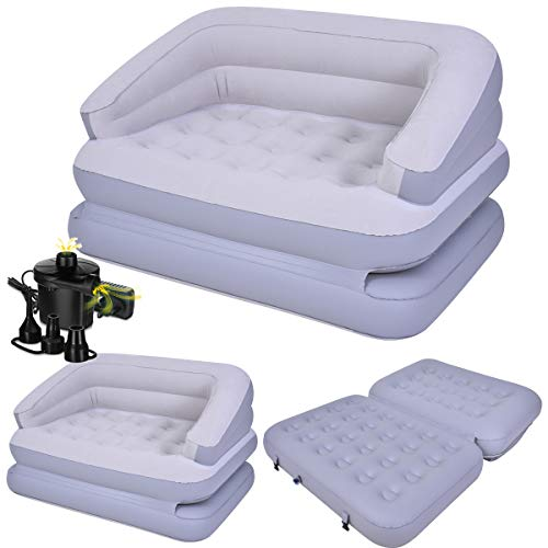 FiNeWaY 5 in 1 Inflatable Multi Functional Comfortable Sofa Couch Double Flocked Air Bed Mattress Relaxing Lounger Seat…