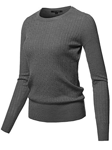 Awesome21 Solid Long Sleeve Round Neck Cable Knit Sweater Charcoal Grey Size M
