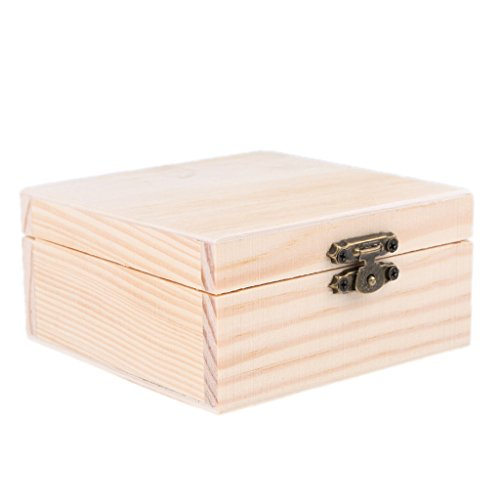 Wood Unfinished Wooden Jewel Box Case for Kid's DIY Craft Woodworking Toys Art Square