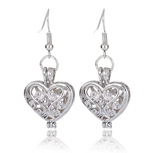 HENGSHENG 6-7 mm Freshwater Cultured Oval Pearls Hollow Heart Shape Locket Pendant Dangle Earrings (Style 10)
