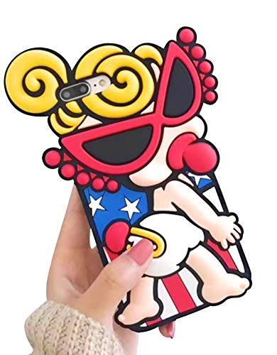 Easierforyou America Doll Girl Sunglasses Diaper Baby Blonde 4th of July Compatible, 6.5 inch 3D Cute Cartoon toon Ultra Soft Silicone Gel Back Cover Case Replacement for Amp Prime ()