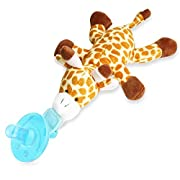 Zooawa Baby Pacifier, Giraffe Pacifier Holder with Removable Plush Stuffed Animal Toy and Rattle for Infant