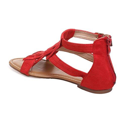 La Modeuse - Sandalias para mujer, rojo (rojo), 42
