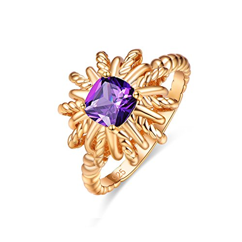 Emsione Created Amethyst 925 Sterling Silver Plated Swirl Ring for Women ()