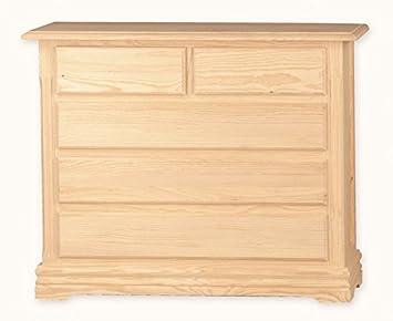 Muebles Natural - Comodín Modelo Ibiza de madera, con zócalo, 5 cajones, sin