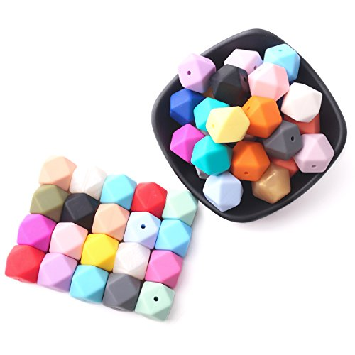baby love home 50pcs 17mm 25colors DIY Silicone Beads for Teether Mix Color Hexagon DIY Necklace/Bracelet Baby Teething Beads