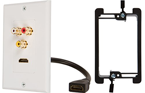 Buyers Point HDMI Pigtail RCA Wall Plate with Single Gang Low Voltage Mounting Bracket Device